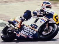 """#4 Freddie Spencer (USA), Honda NS500, GP Španělska 1985, foto Antonio Fernandez. """"Létající Freddie"""" dokázal v roce 1985 vybojovat s Hondou titul mistra světa ve třídách 500 a 250 ccm současně."""
