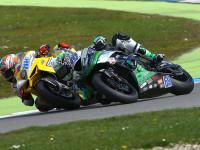 Souboj #69 Ondřej Ježek (CZE), Kawasaki ZX–6R, Team Go Eleven a #88 Nicolás Terol (ESP), MV Agusta F3 675, Schmidt Racing (foto Mára Paulíček)