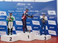 Pódium FIA ETRC 2018 Most, závod 1: P1 #1 Adam Lacko (CZE), Buggyra International Racing System (CZE), Freightliner; P2 #30 Sascha Lenz (DEU), Sascha Lenz (DEU), MAN a P3 #2 Jochen Hahn (DEU), Jochen Hahn (DEU), IVECO